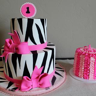 Pink & Zebra 1st Birthday - Cake by Kendra