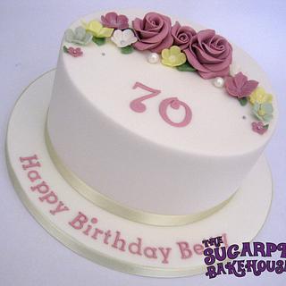 Simple 8 Inch 70th Birthday Cake