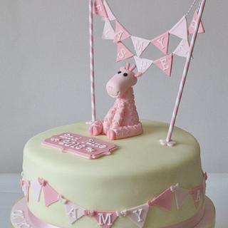 A pink giraffe and bunting for Amy Elspeth's baptism