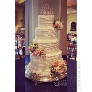 Slanted Spring Wedding Cake - Cake by Sweet Scene Cakes