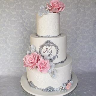 White & silver wedding cake