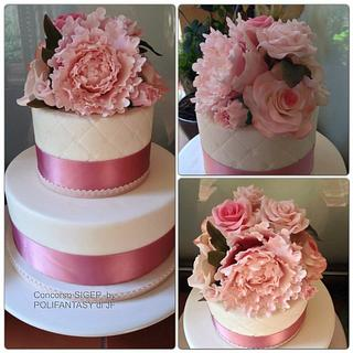 Peony Mini Wedding Cake