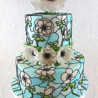 Anemone Stained Glass Wedding Cake