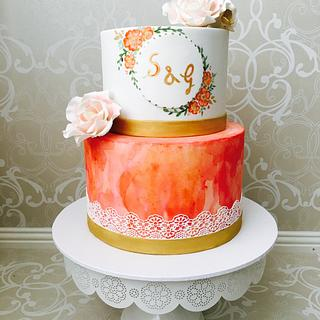 Peach & white wedding cake
