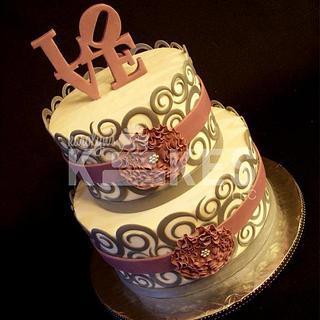 LOVE swirls - Cake by Karolyn's Kakes, LLC