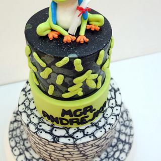 Biologist graduation cake.