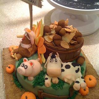 Thanksgiving amimals cake