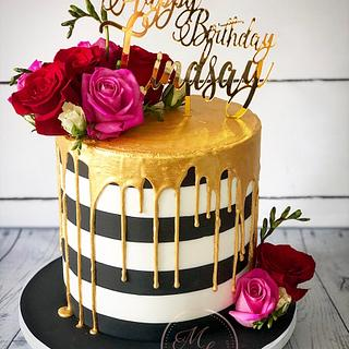 Monochrome drip cake