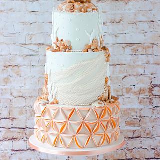 Beach themed wedding cake  - Cake by Bellaria Cake Design