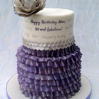 60th Birthday - personalized ruffle cake