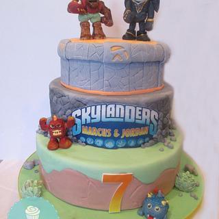 Skylander Cake with Handcrafted Figures