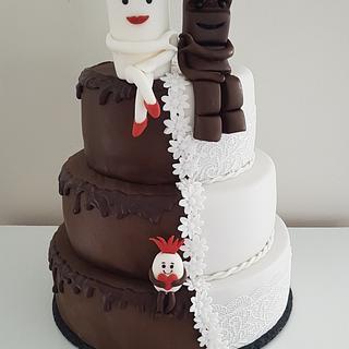 Milky & Schoki Weddingcake / Hochzeitstorte mit Schokobon ❤ - Cake by Nina