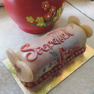 I love Mom - marzipan roll and chocolate decoration