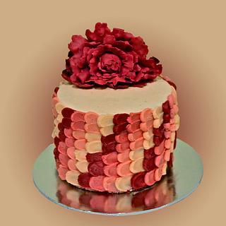 A Peony on a Petal Cake