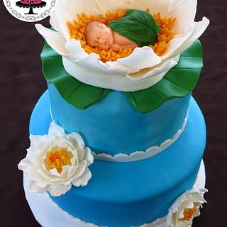 Water Lily Baby Shower Cake!