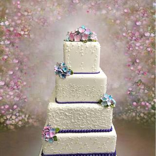 White Square Tiers with Purple Accents