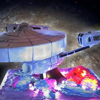 Star Trek Wrath of Khan Enterprise cake - Cake by Lauren Cortesi