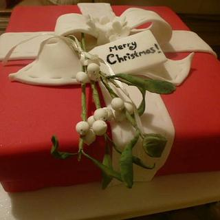 Crimson and mistletoe christmas cake !