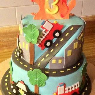 Firetruck and police car cake