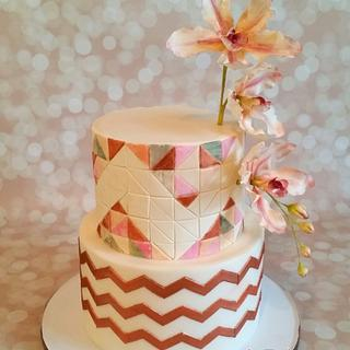 Geometric Baby Shower with Orchids