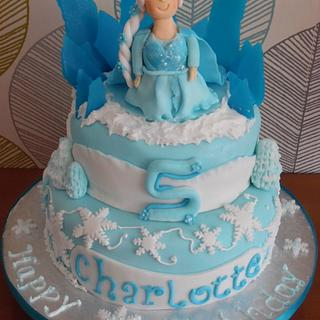 Elsa Frozen Wintery cake  - Cake by Truly Scrumptious Cakes by Christine