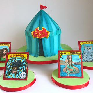 Carnival Sideshow Tent Cake
