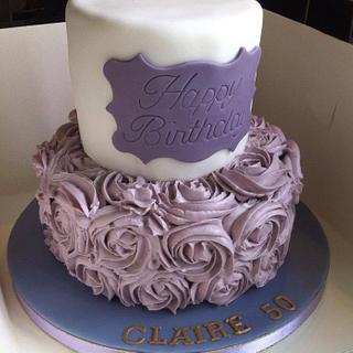 50th birthday - lilac roses - Cake by Mummypuddleduck
