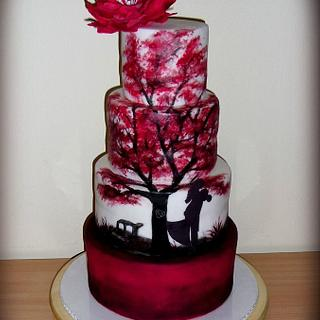 Wedding cake with painted tree