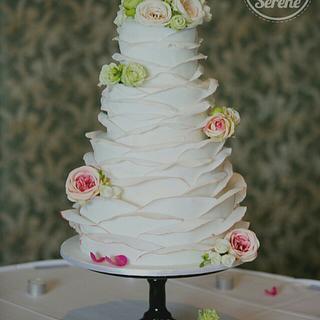 Rose Petals Ruffles Wedding Cake