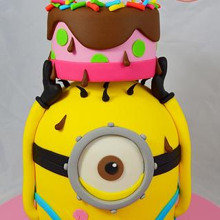 Minion balancing a birthday cake on his head! - Cake by Strawberry Lane Cake Company