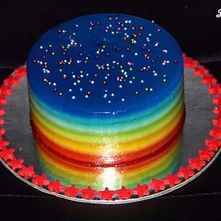 Rainbow jelly cake !!