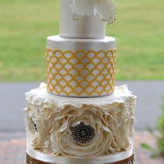 Ruffle and Bling Wedding Cake