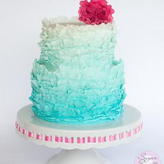 Aquamarine Ombre Frills Cake