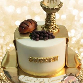 Holy Communion cake in gold and white - Cake by YumZee_Cuppycakes