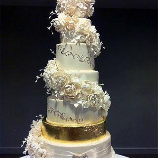 6 Tier Spiral Cascading Peonies & Roses Wedding Cake - Cake by Serdar Yener | Yeners Way - Cake Art Tutorials