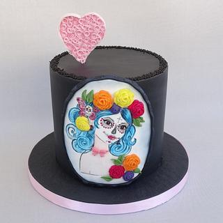 Sugar skull girl and quilling heart - Cake by Diana