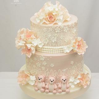 Vintage Blush Wedding Cake with Three Little Bears