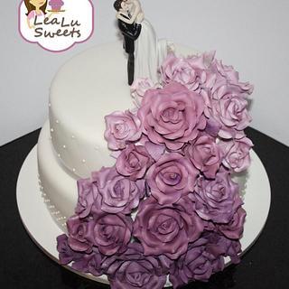 Purple Roses Wedding Cake - Cake by Lealu-Sweets