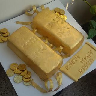 An edible gold bar cake