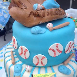 Baseball themed baby shower cake and desserts