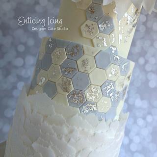 Silver leaf hexagon cake