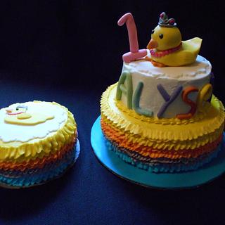 Princess Duck First Birthday Cake & Smash Cake