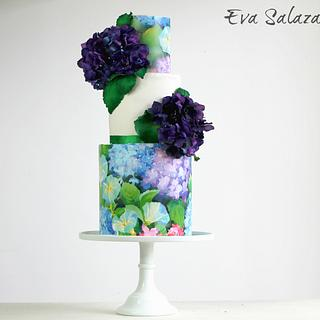 Purple Hydrangeas Cake that smell like sugar