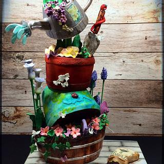 Gravity defying garden cake