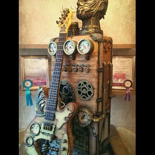 Steampunk Freestanding Guitar and Amplifier