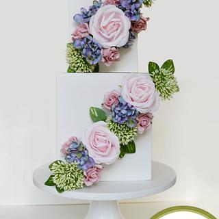 Pretty Pastel Diagonal Blooms - Cake by Inspired by Cake - Vanessa