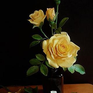 Yellow rose and bougainvillea - Cake by babkaKatka