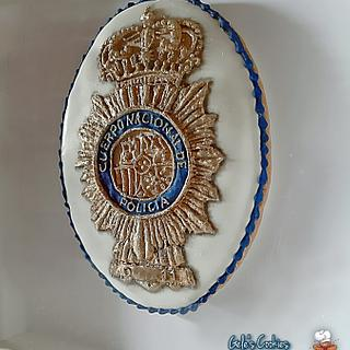 Royal icing police badge cookie