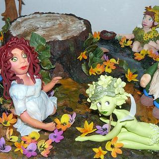 garden fairys cake stand -all edible