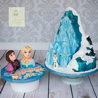 Frozen castle mountain cake